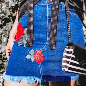 FashionNova Denim Mini Skirt with Rose Detail